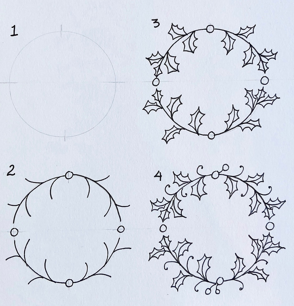 @mariebcreates #Holly #pencil step1 drawing the wreath