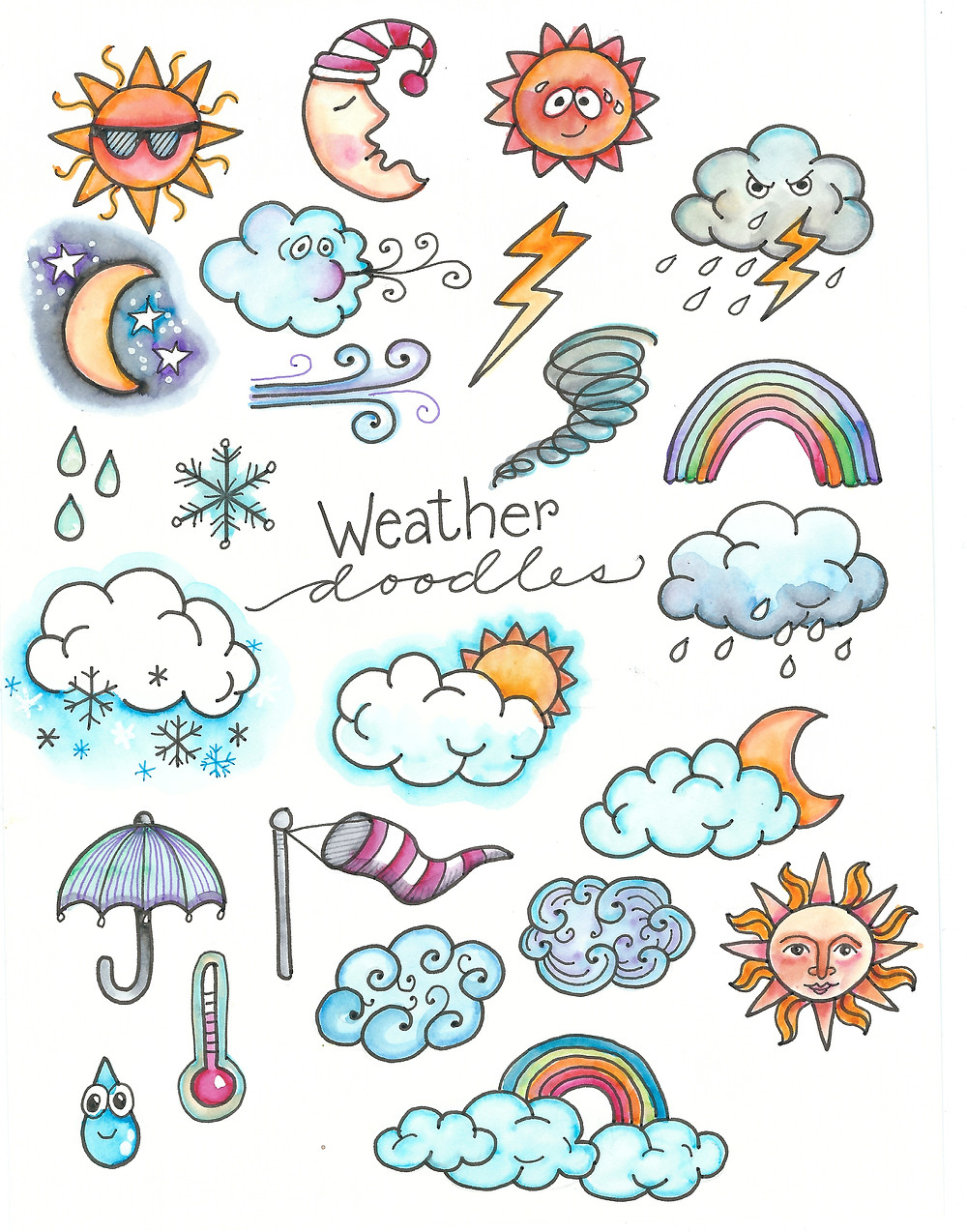 @mariebcreates #tombowusa #doodles #plannerlove Weather Journal Doodles