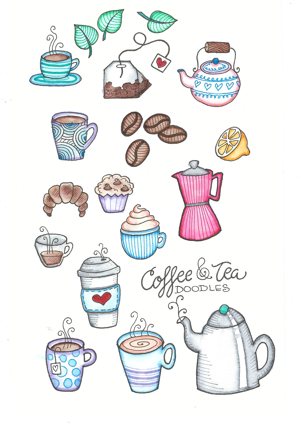 @mariebcreates #tombow #coffee coffee and tea doodles