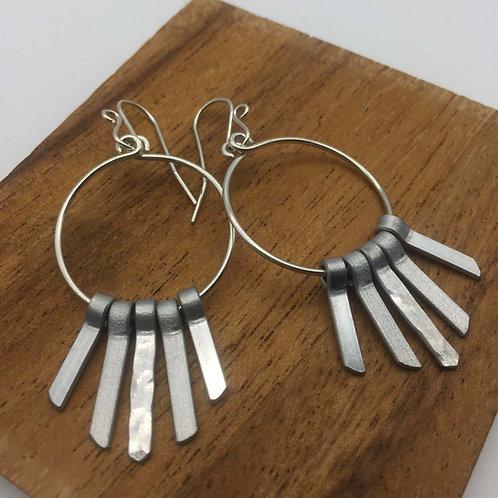 Boucles d'oreilles argent cinq tiges courtes aluminium :: Model 1