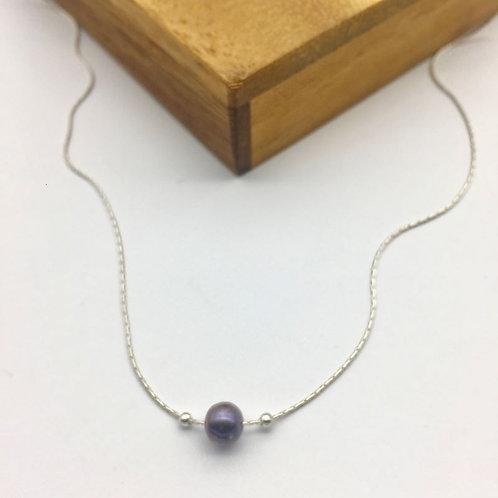 Collier chaîne serpentine en argent et perle d'eau douce