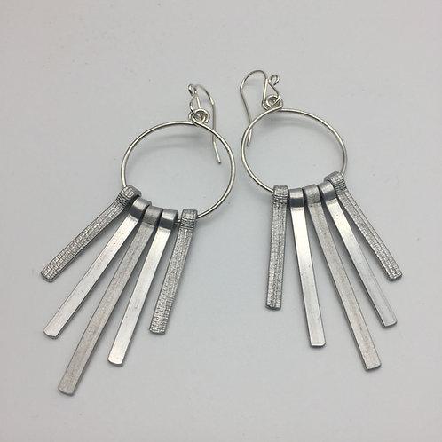 Boucles d'oreilles argent cinq tiges longues aluminium :: Model 2