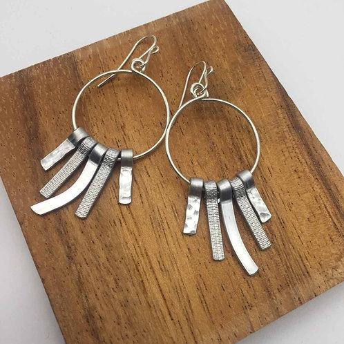 Boucles d'oreilles argent cinq tiges courtes aluminium :: Model 3