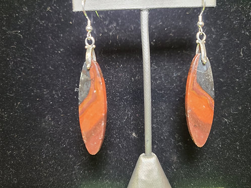 Red and Black Petrified Wood Earrings