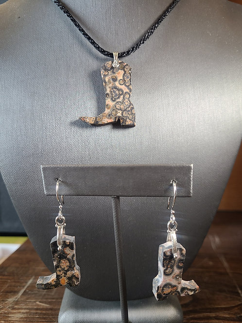 Leopard Skin Jasper Pendant and Earrings