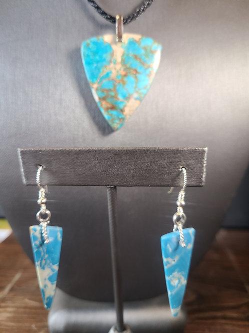 Sea Sediment Jasper Pendant and Earrings