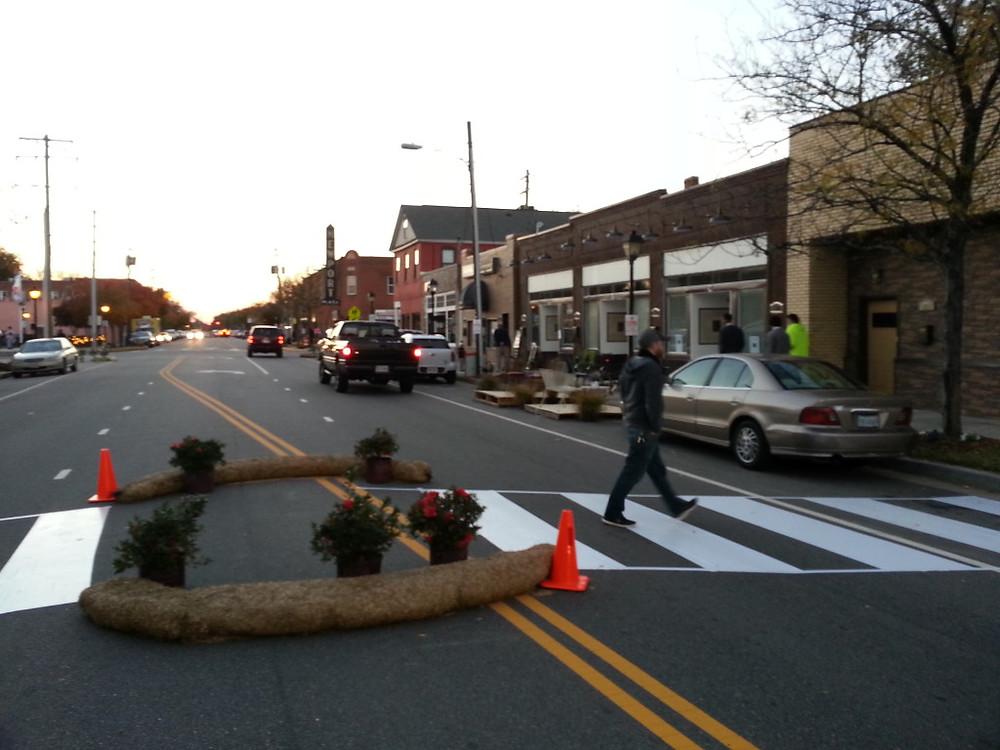 Mid-block crosswalk installed at Better Block
