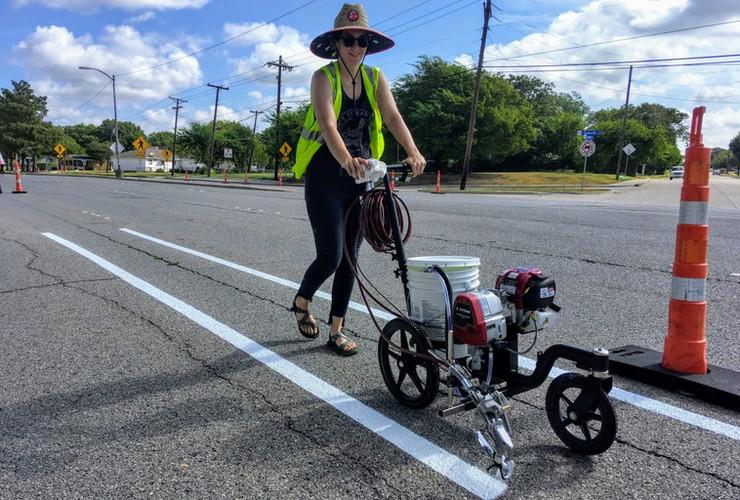 Striping Bike Lanes in Richardson, Texas