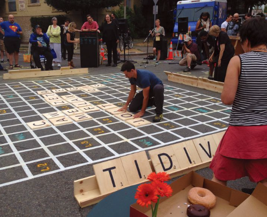 The City of Seattle, WA, USA hosted its first Street Scrabble Tournament in partnership with Fehr & Peers, Team Be