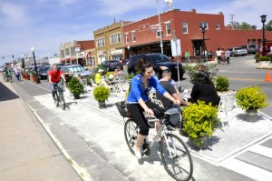 During the City of Wichita, KS Bicycle Master Plan, Team Better Block built a cycle track and pedestrian plaza with the community. This empowered the plan to look beyond shared lanes and bike lanes.