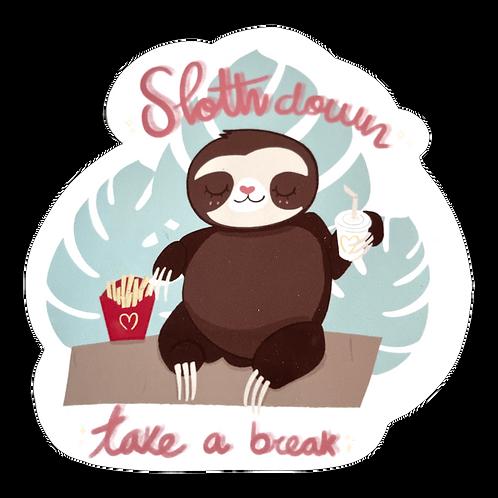 Kawaii Sloth Down Glossy Sticker