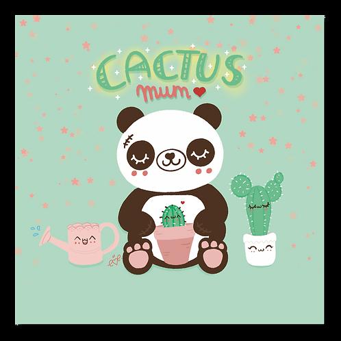 Kawaii Panda Cactus Mum Art Print
