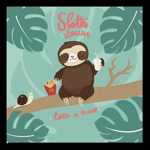 Kawaii Sloth Down Art Print
