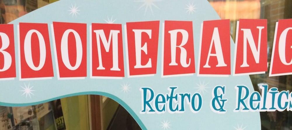 Boomerang Retro & Relics Store Window Vinyl Image
