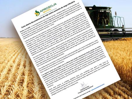 Carta aberta dos produtores de soja contra aumento de carga tributária
