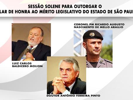 Sessão Solene para outorgar o Colar de Honra ao Mérito Legislativo do Estado de São Paulo
