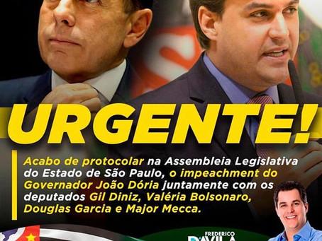 Deputado Frederico d'Avila protocola pedido de impeachment de Doria na tarde desta quarta-feira (22)