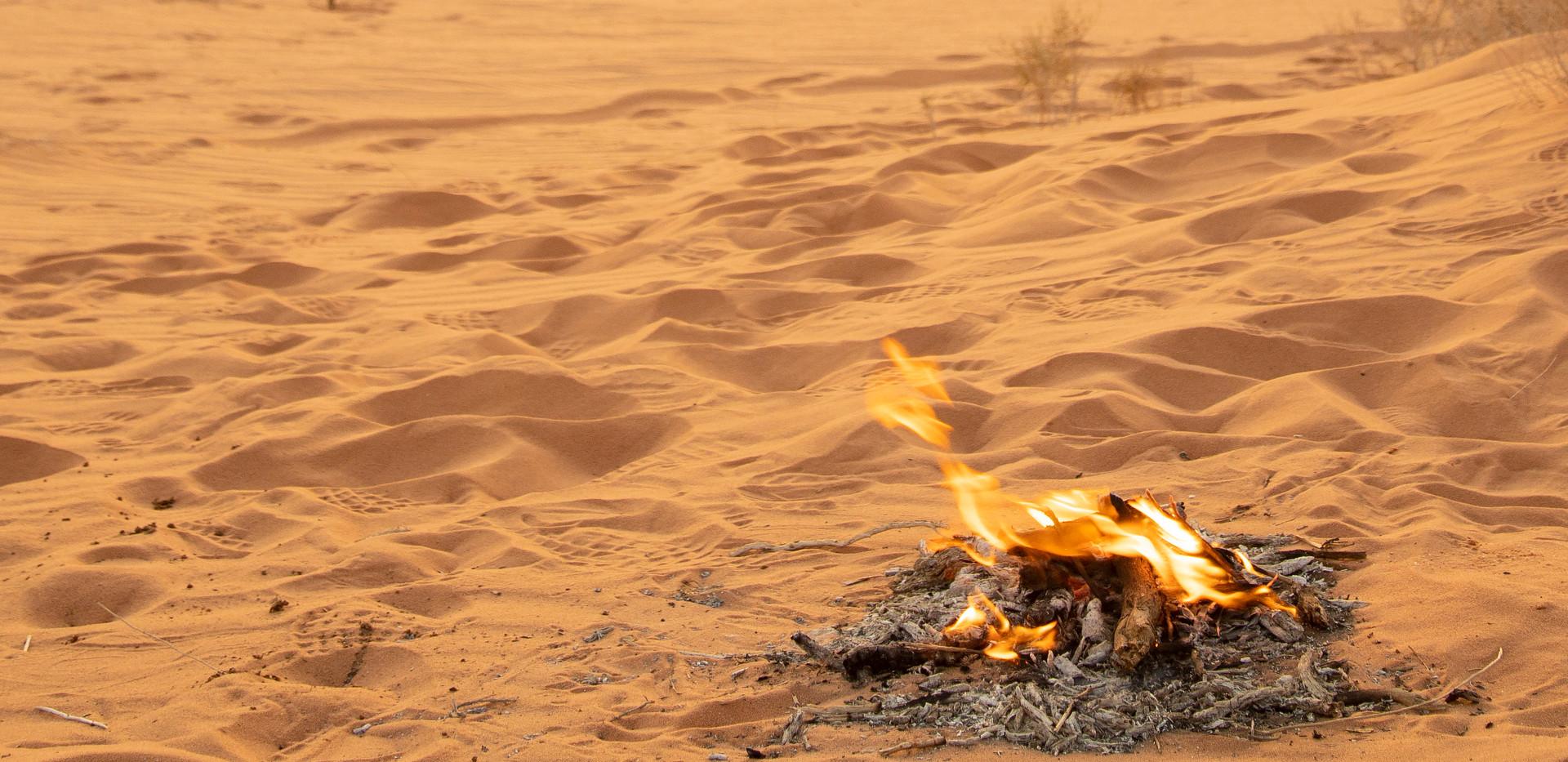 Desert camp fire