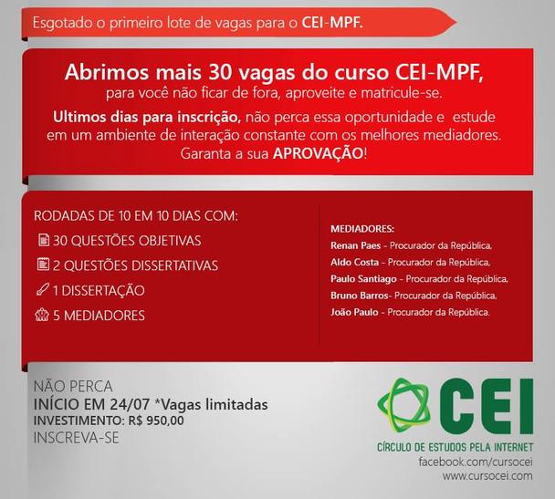 Curso CEI-MPF: últimas vagas!