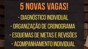 5 (cinco) novas vagas para acompanhamento individual: início em 15/11