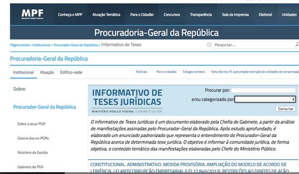Informativos de teses jurídicas da Procuradoria Geral da República