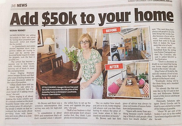 Home Staging Brisbane in the Courier Mail