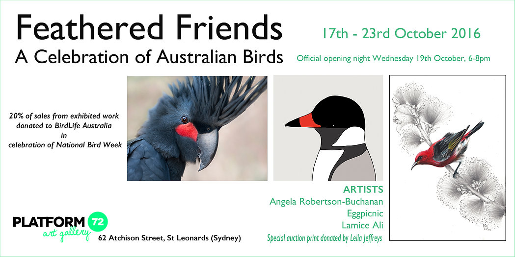 Featherd Friends exhibition poster