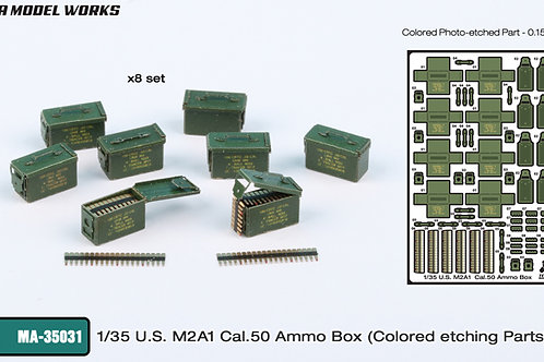 1/35 US.  M2A1 50.cal Ammo Boxes (and ammo), prepainted PE