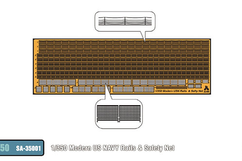 1/350 Modern US Navy Rails and Safety Net, PE