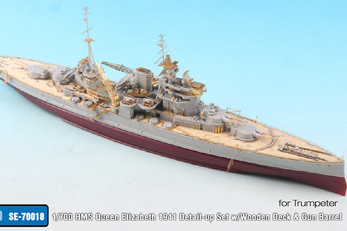 1/700 HMS Queen Elizabeth 1941 Detail-up Set w/Wooden Deck & Gun