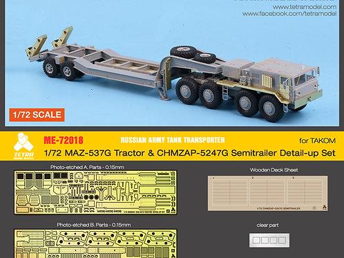 1/72 Russian Army MAZ-537G Tractor w/CHMZAP-5247G Semitrailer for TAKOM