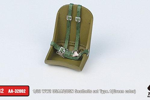 1/32 WW2 USAAF/USN Seatbelts set Type.1 (Green)
