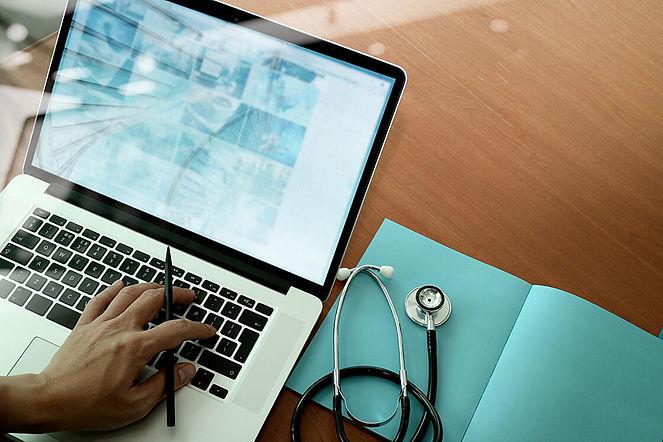 top view of Medicine doctor hand working
