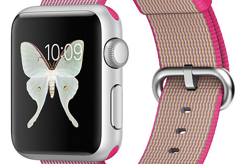 Apple Watch Sport 38mm Smartwatch (Pink Woven Nylon) MMF32LL/A