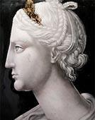 Retrato de Cleópatra (1540-60) Jean II Penicaud ( França) Esmalte sobre placa de cobre - Museu do Louvre
