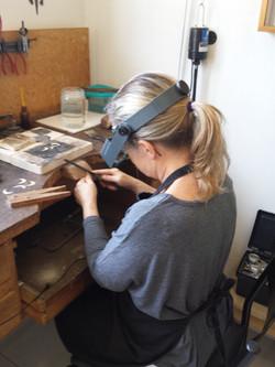 trabalhando no atelier
