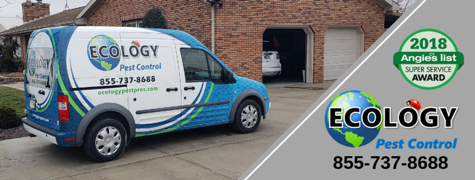 Ecology PestControl service van parked in front of client's home. Technician is performing pest maintenance program.