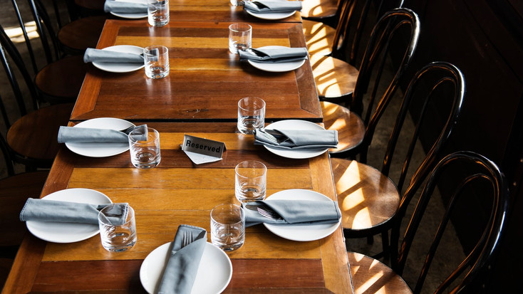 Typical group dining set up