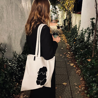 Handmade Shopping Bag with woman figure print