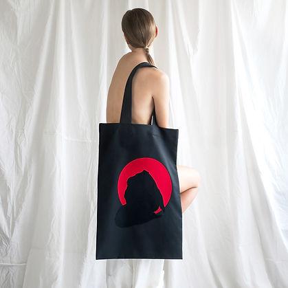 Handmade Oversize Bag with woman figure print