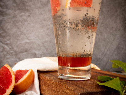 Red Grapefruit Spritzer with Basil Seeds