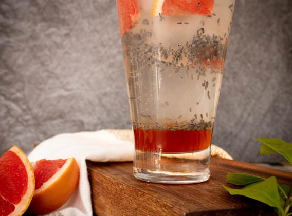 Grapefruit Spritzer with Basil Seeds
