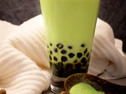 Green Hami Melon Milk Tea with Tapioca Pearls