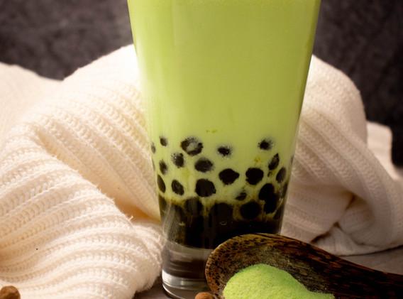 Green Hami Melon with Tapioca Pearls