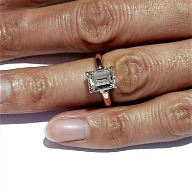 Emerald Cut Diamond Solitaire in Rose Gold