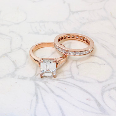Emerald Cut Soiltaire and Baguette Eternity Band