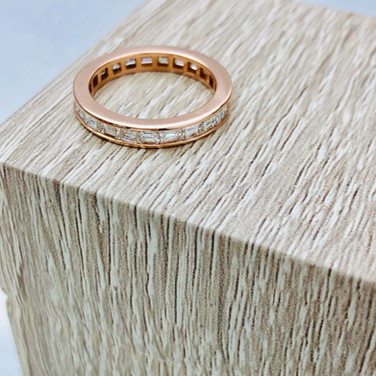 Baguette Eternity band in Rose Gold