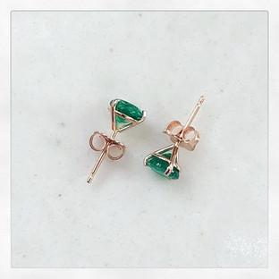 Martini cup green Emerald Earrings in Rose Gold