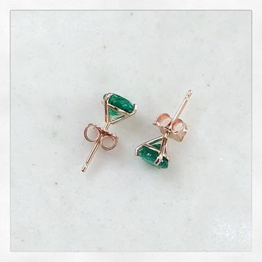 Martini cup green Emerald Earrings in Rose Gold