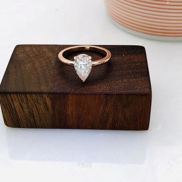 Pear Shape Diamond Ring in Rose Gold